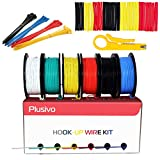 30GA Hook up Wire Kit - 30AWG Silicone Wire - 300V Tinned Stranded Electrical Wire of 6 Different Colors x 66 ft each - Black, Red, Yellow, Green, Blue, White - Wire Assortment Kit from Plusivo