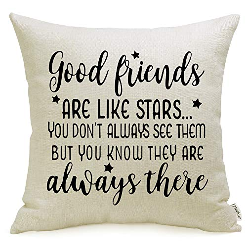 """Meekio Friendship Gifts Decorative Pillow Covers with Good Friends are Like Star Quote 18"""" x 18"""""""