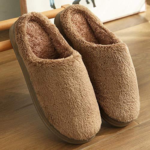 HUSHUI CáLido Zapatos Memory AlgodóN,Pantuflas Calientes Antideslizantes, Pantuflas de algodón de Suela Gruesa de Interior de Felpa-Brown_42-43,Pantuflas De Casa para Mujer