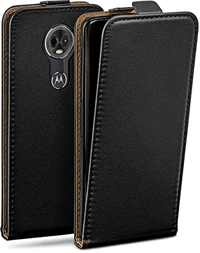 moex Flip Hülle für Motorola Moto E5 Plus Hülle klappbar, 360 Grad R&um Komplett-Schutz, Klapphülle aus Vegan Leder, Handytasche mit vertikaler Klappe, magnetisch - Schwarz