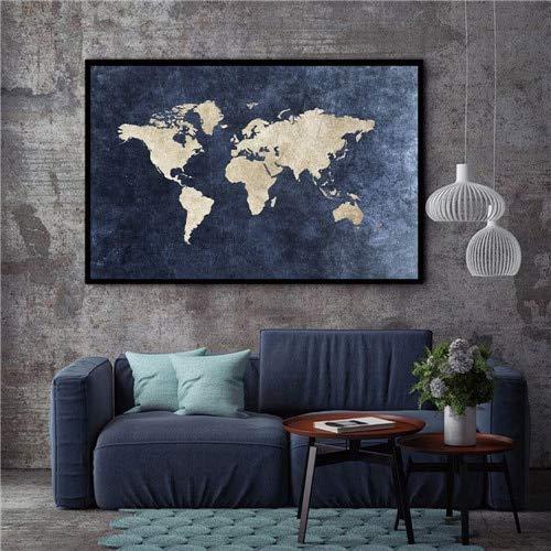 Malerei HD abstrakte Leinwand Wohnzimmer Wandkunst Poster Retro Weltkarte Dekoration Bild modulare rahmenlose dekorative Malerei A134 30x40cm