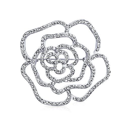 Bling Jewelry Bridal Pave Zirconio Cúbico CZ Gran Flor Rosa Broche para Mujer El Día De La Madre Regalos De Latón Chapados En Plata.