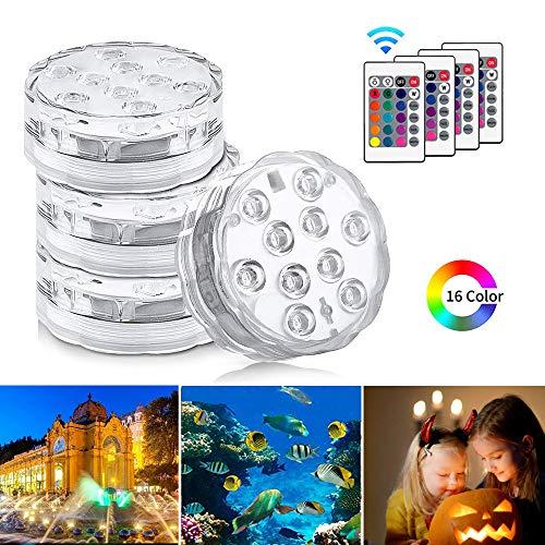 Unterwasser Licht, KIPIDA Unterwasser LED RGB Fernbedienung Multi Farbwechsel Wasserdichte Unterwasserlicht für Pool Aquarium Fish Tank Brunnen Hochzeit Party Dekoration Schwimmbad Vase Beleuchtung