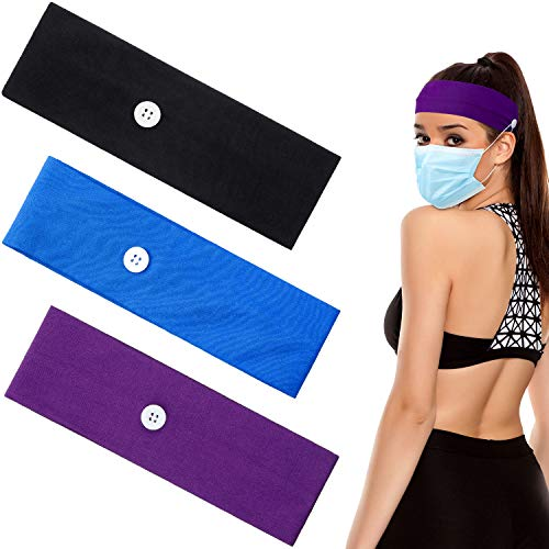 3 Pieces Cotton Button Headband Ear Protection Holder Yoga Hairband Headwrap for Face Cover, Multifunctional Hair Band for Nurse Doctor (Black, Deep Purple, Royal Blue)