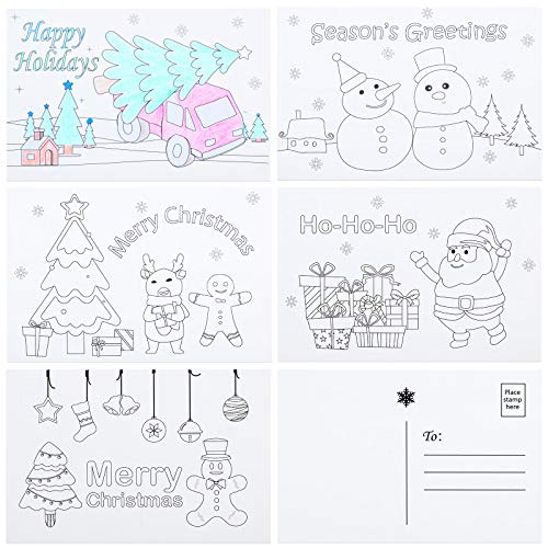 30 Pieces Christmas Color Your Own Postcards Coloring Cartoon Christmas Greeting Cards Coloring Christmas Cards for DIY Kids Student Christmas, 5 Designs, 4 x 6 Inches