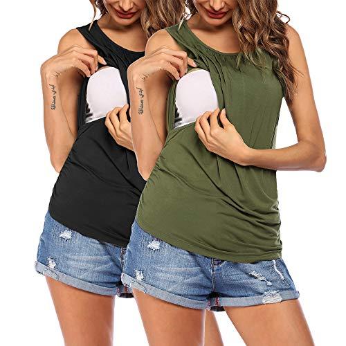 VOOMALL Camisón de Lactancia para Mujer Sin Mangas Camisón de Maternidad Camiseta de Maternidad/Top de Maternidad Ropa de Maternidad para Mujeres Embarazadas Verano 2pcs, S