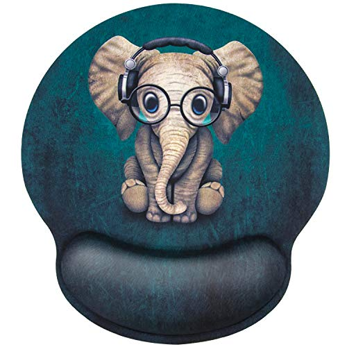 EFISH Ergonomic Mouse Pad with Wrist Rest, Personality Cute Green Patterned Earphone Music Elephant,Pain Relief Comfort Wrist Rest Pad,with Non-Slip Rubber Base,Suitable for Computer,Office,Home