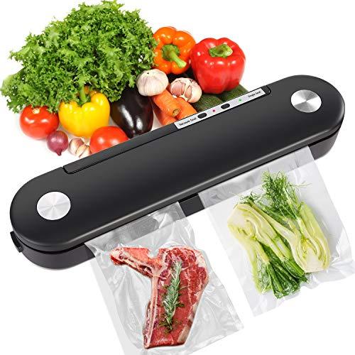 Vakuumiergerät 2 in 1 automatischer Lebensmittelversiegeler Vakuumierer für die Lagerung von trockenen und nassen Lebensmitteln, mit LED-Anzeige, leicht zu reinigen (schwarz)