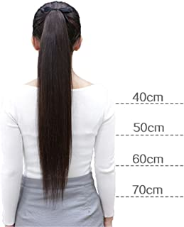 """Remeehi Straight Remy Human Hair Ponytail Extensions Clip Magic Wrap Around Pony Tails for Women(16"""" 40g Natural Black)"""