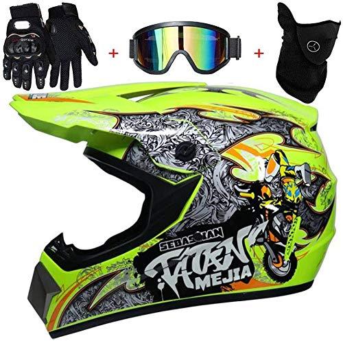 baratos y buenos Casco de motocross integrado OUTLL con guantes y gafas protectoras, carcasa de plástico con tecnología ABS,… calidad