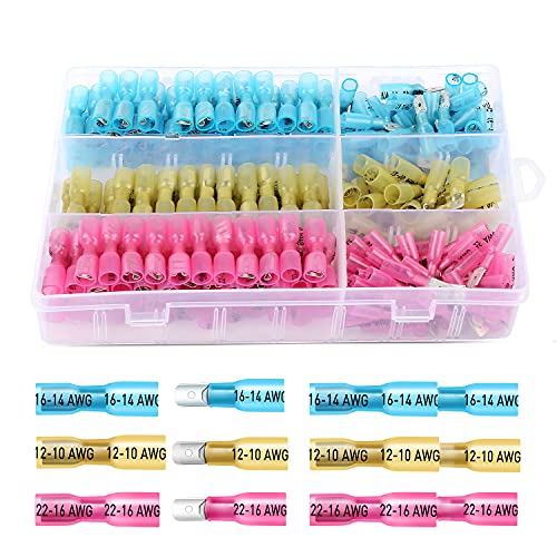 Nilight 250 PCS Heat Shrink Spade Connectors Quick Disconnect Wire Connectors Electrical Spade Terminals Male and Female Fully Insulated Wire Spade Connectors