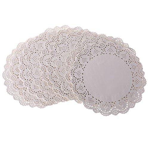 RG-FA Lot de 200 sets de table ronds en dentelle en papier pour mariage, événements, fête F