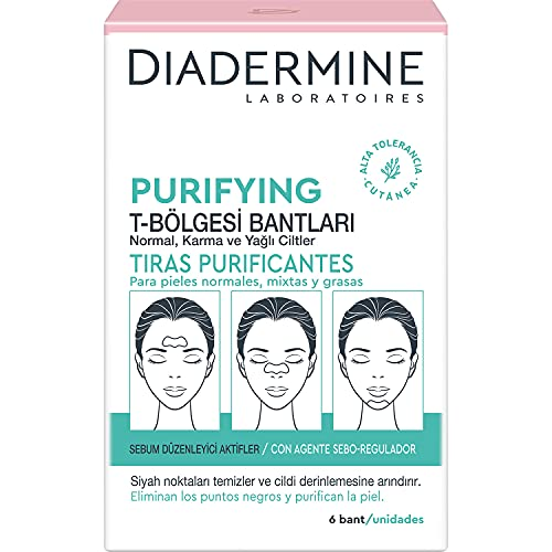 Diadermine Strips Purifiants Front/Nez/Menton, La boîte de 6 strips