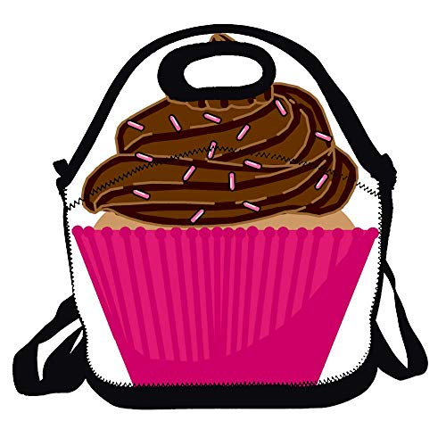 Amuseds Cupcake Floral-1 Reusable Lunch Bags Boxes For Men Women Adults Kids Toddler Nurses With Adjustable Shoulder Strap - Best Travel Bag