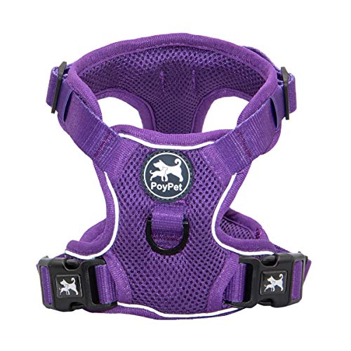 PoyPet Reflective Soft Breathable Mesh Dog Harness No Choke Double Padded Vest Adjustable(Purple,M)