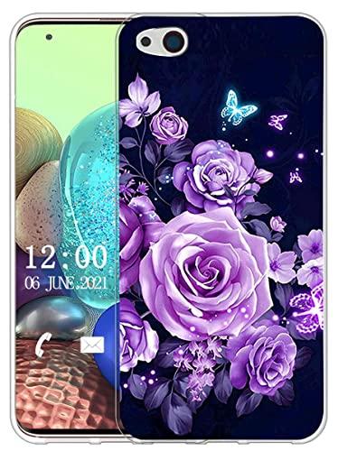 Sunrive Hülle Kompatibel mit ZTE Nubia Z9 Max Silikon, Transparent Handyhülle Schutzhülle Etui Hülle (X Schmetterlinge und Rosen)+Gratis Universal Eingabestift MEHRWEG
