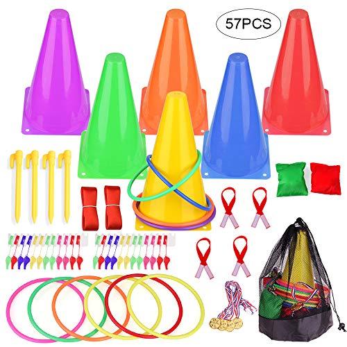 GOLDGE - Juego de juegos para niños, 8 en 1, juego de juegos para niños, lanzar, círculo/Bean Bags, juego interior exterior, juego de 57 piezas