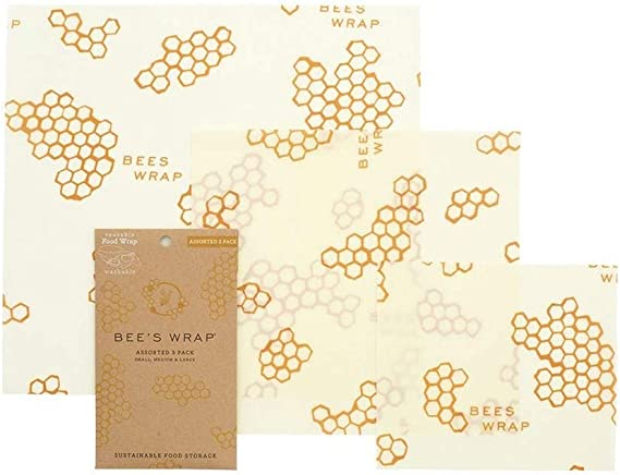 Bee's Wrap – Assorted Set of 3 – Certified B Corporation – No Synthetic Wax or Chemicals – Holds for Up to a Year – Sustainable and Reusable Beeswax Food Wraps with Jojoba Oil – 3 Sizes (S