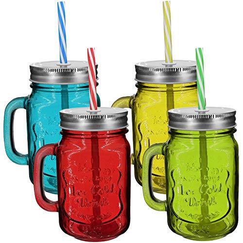 My-goodbuy24 4er Set Trinkbecher Trinkgläser Set Motiv mit Deckel und Strohhalm - Trinkglas - Cocktailglas - Glas - Gläser - Füllmenge 450 ml