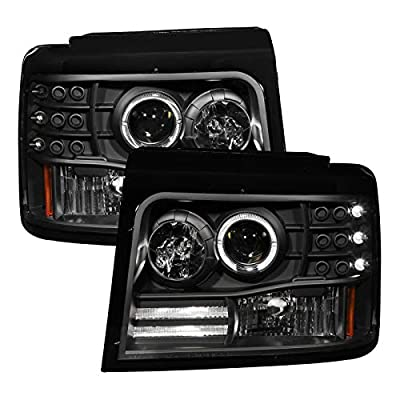 AnzoUSA Projector Halo Headlight with Side Marker and Parking Light for Ford F150/F250/Bronco