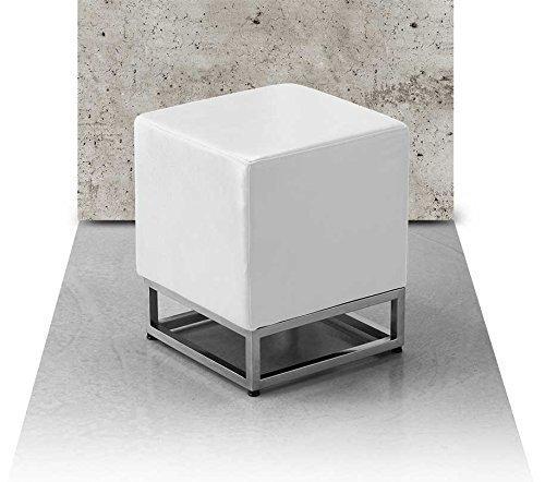 Pequeño chic Dado Bauhaus Piel natural Taburete Taburete de lado Taburete Taburete pie 37 x 37 cm Altura del asiento 45 cm. Imagen Cuero Blanco