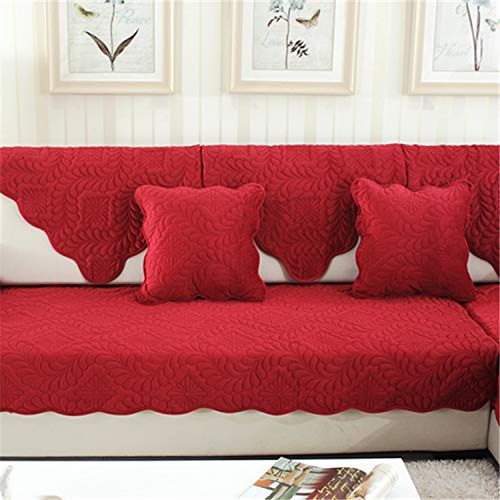 Supengyuan - Cojín corto de felpa antideslizante, lavable a máquina, cojín de sofá para sala de estar, combinación de sofá, Rojo, 90*70CM