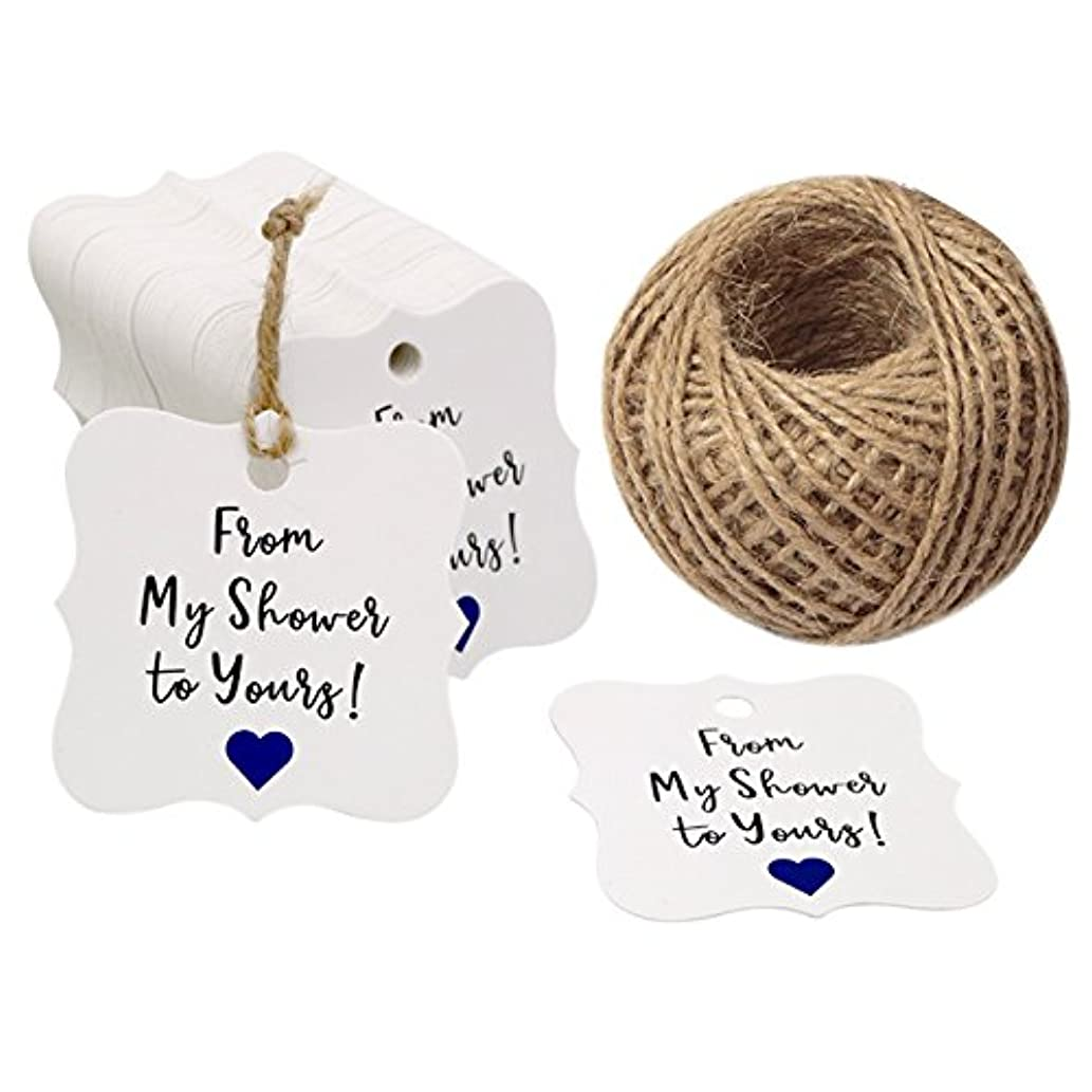 Baby Shower Tags,100 Pcs from My Shower to Yours Tags,Shower Favor Tags with 100 Feet Jute Twine