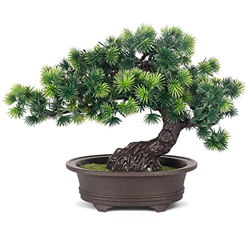 COCOBOO Artificial Bonsai Japanese Juniper Height 9' Fake Bonsai for Home Office Desk Indoor Decor