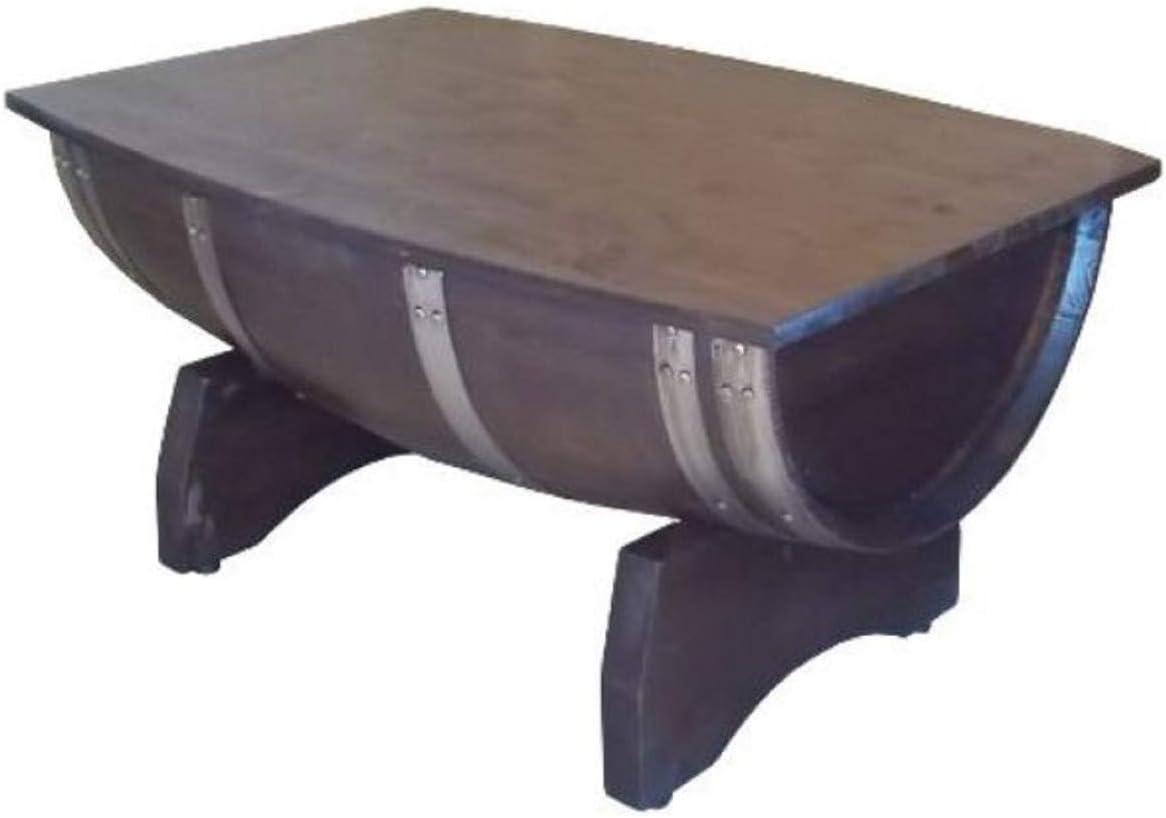 Casa Padrino Mesa de Centro de Barril de Lujo marrón/Plata 100 x 86 x A. 55 cm - Mesa de Barril de Vino de Madera Maciza con Tablero Plegable - Muebles de Terrazas de Jardín de Gastronomía