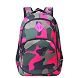 Bebone Schulrucksack Jungen Mädchen Schulranzen Teenager Schultasche Kinder Tarnung Rucksack (Pink, 32 * 18 * 45cm)