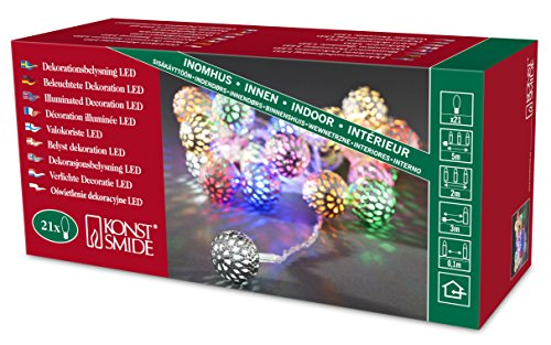 Konstsmide 21 Static LED Morrocan Style Silver Metal Balls Fairy Light Set / For Indoor Use (IP20) / 21 Multi Coloured Diodes / Transparent Cable Light String 3177-503EE