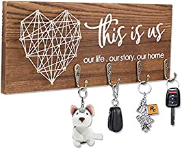 FREEDHIN Key Holder for Wall with 4 Hooks, Rustic Home Decor Key Hanger for Wall, Wall Mount Wooden Key Holder for Entryway or Mudroom (Brown)