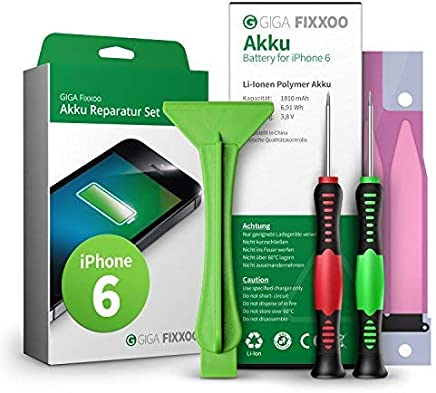 GIGA Fixxoo iPhone 6 Lithium-Ionen Akku Austausch-Set mit Bildanleitung zum Selbermachen; Komplettes Werkzeug Set zur Schnellen & Einfachen Reparatur