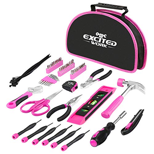 EXCITED WORK 69-Piece Pink Tool kit, Ladies Hand Tool Set with Easy Carrying Round Pouch for DIY, Home Maintenance and Dorm Repair