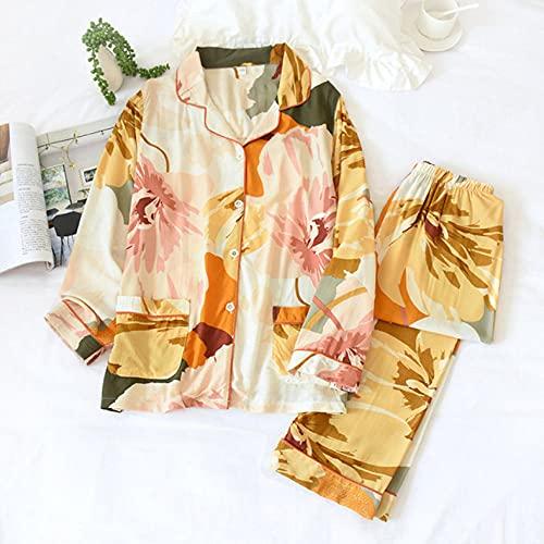 Primavera/Verano de Manga Larga Pijamas de Las señoras de los Pantalones se...