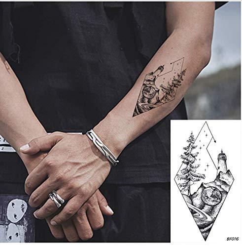 ruofengpuzi Adesivo tatuaggioDiamante De La Moda Impermeable Árbol Top Faro Tatuaje Etiqueta Arte Femenino Tatuaje Temporal Etiqueta Hombre Brazo Personalizado Tatuaje Falso