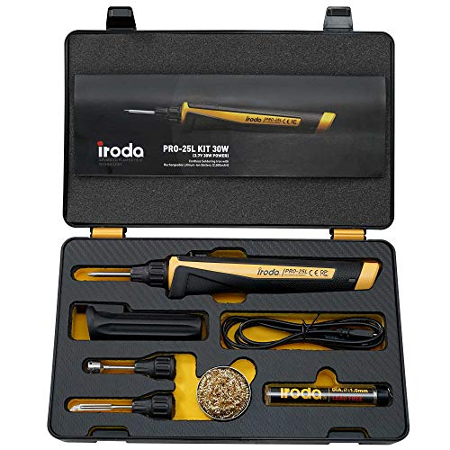 Iroda PRO-25LK Solderpro Cordless Rechargeable Lithium Ion Battery Soldering Iron Kit. 3-In-1 Tool. Soldering, Hot Knife, Heat Blower. (Made In Taiwan)(Butane Not Included)