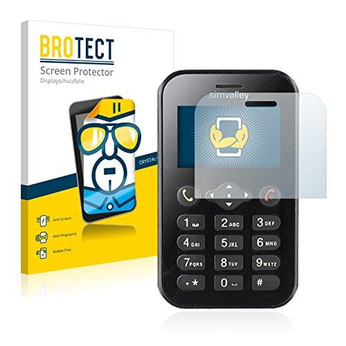 BROTECT Schutzfolie kompatibel mit Simvalley Mobile RX-484 Pico (2 Stück) klare Bildschirmschutz-Folie