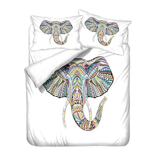 Juego de cama Bohemio Elefante Diseño étnico Exótico Indio Atrapasueños Ropa de cama Funda nórdica Funda de almohada, Poliéster Suave Funda de edredón Bohemio (Estilo 3, 220x240 cm - Cama 150 cm)