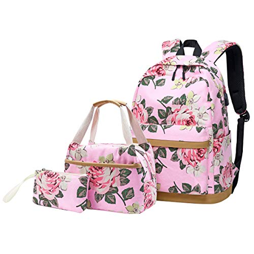 Backpack for Girls Teens High School and College, Bookbags +Lunch Bag + Pencil Case, 3 bags in 1 (3 in 1 Backpack Sets Pink)