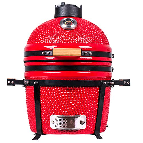 "YNNI KAMADO TQ0015RE 15.7"" Free Standing Kamado, Grill, RED, BBQ, Ceramic, Egg, Smoker, TQ0015RE"