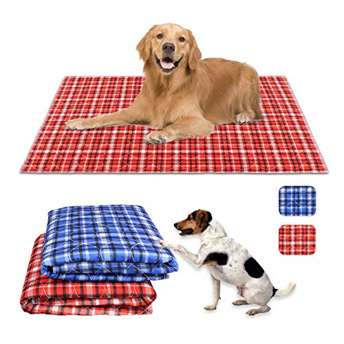 Uteuvili 2 PCS Dog Crate Liners Washable Pee Pads Dog Crate Pads Mats Bed Super Absorbent Waterproof Reusable Anti Slip Fit 42 Inch Crate(Red&Blue Plaid 41