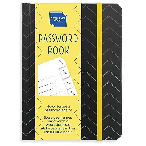 Boxclever Press Password Journal, Passwort Buch. Gebundener Passwort Organizer für Websites, Nutzernamen und Passwörter mit Register A-Z für Konten & Logins. Unbetitelt für extra Sicherheit (Zickzack)