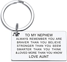 Nephew Keychain Birthday Gifts from Aunt Uncle Inspirational Key Ring Always Remember You are Braver than You Believe