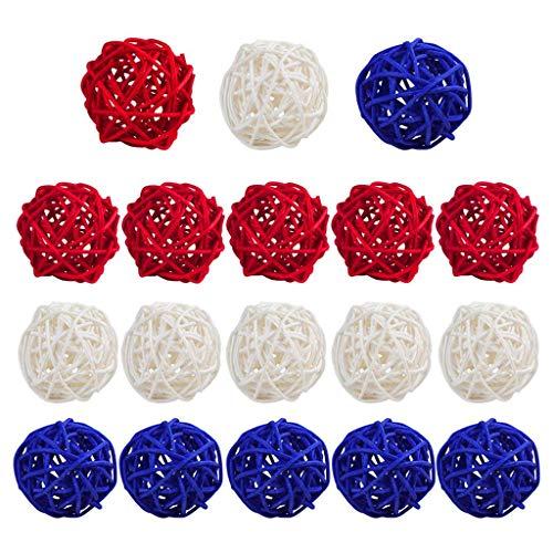 15 piezas de bolas de ratán rojas, blancas y azules, 7,4 decoraciones para el hogar, florero de bricolaje, adorno de relleno, decoración del hogar, manualidades, regalo ideal, accesorios de me
