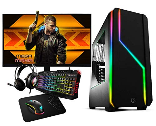 Megamania PC Gaming AMD Ryzen 5 3400G, Ordenador de sobremesa 4.2GHz Turbo Quad Core | 16GB DDR4 | SSD 480GB | Gráfica AMD Radeon Vega RX 11 + Monitor LED FullHD 24' + Kit Gamer Teclado ratón Regalo