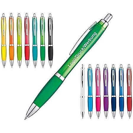 Schmalz Werbeservice Kunststoff Kugelschreiber Newport inkl. Druck mit Werbung/Logo/Druck/Werbedruck Kugelschreiber Bedruckt Digitaldruck Mehrfarbig (Menge: 100 Stück, apfelgrün)
