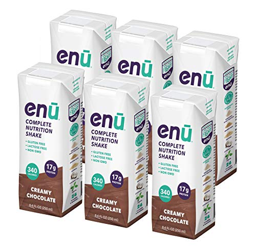 ENU RTD Chocolate Whey Protein Shake 17g (6 Pack) | Lactose & Gluten Free, Non-GMO Workout Drink For Muscle Gain | Healthy Weight Gain Nutrition Drink