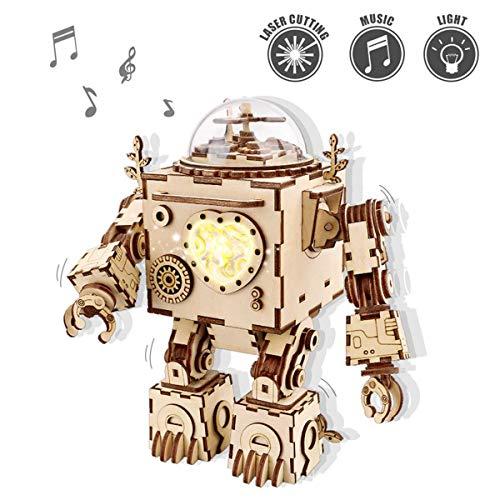 ROKR Holz Spieluhr-Set 3D Holzpuzzle mit Lichter Mechanische Modell Spielzeug Für Kinder Teen Erwachsene Ostern Geburtstagskinder(Orpheus)