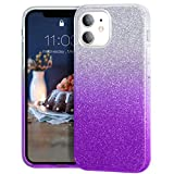 MATEPROX Glitterata Custodia per iPhone 12 PRO/iPhone 12 Custodia Sparkle Lucida Crystal Glitter Sottile Protettivo Cover per iPhone 12 PRO/iPhone 12 6.1'' 2020-Viola sfumato
